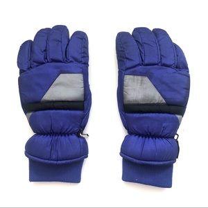 Purple Silver Colorblock Ski Snow Gloves